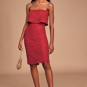 Lulu's Strapless Red Lace Midi Dress Size L